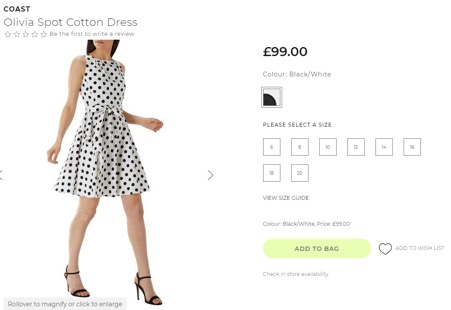 Coast dress on House of Fraser website
