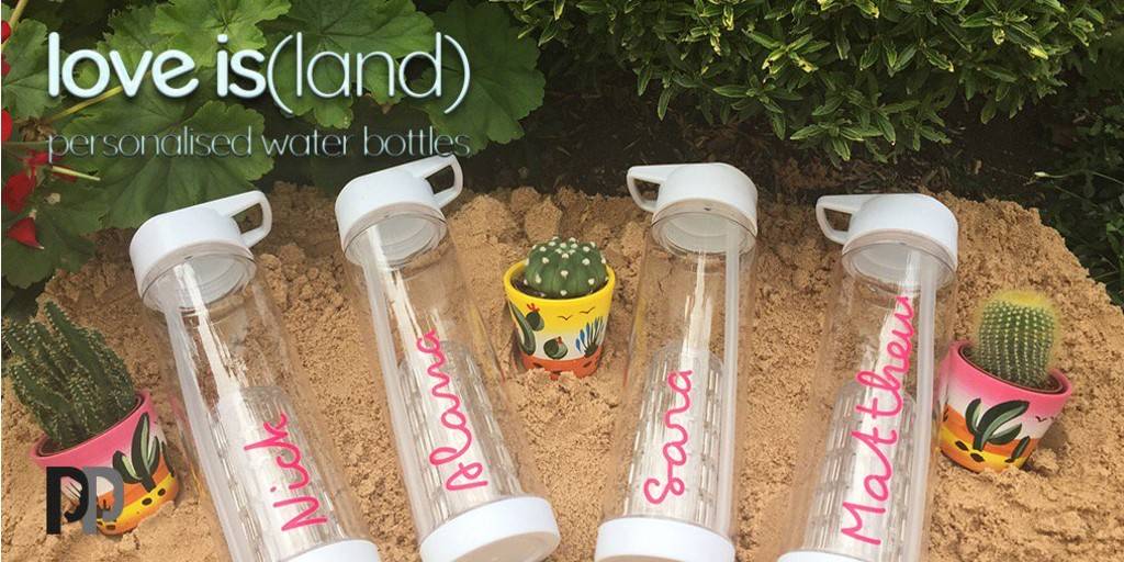 Love Island personalised water bottles